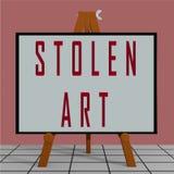 STOLEN ART concept. 3D illustration of STOLEN ART title on a tripod display board vector illustration