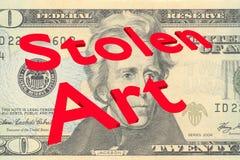 Stolen Art concept. 3D illustration of Stolen Art title on Twenty Dollars bill as a background royalty free illustration