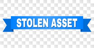 Blue Tape with STOLEN ASSET Title. STOLEN ASSET text on a ribbon. Designed with white caption and blue stripe. Vector banner with STOLEN ASSET tag on a royalty free illustration
