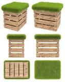 Stolen av träasken eller paletten med en plats av gräs Trädgårds- möblemang Bästa sikt, sidosikt, främre sikt, nedersta sikt Isol Royaltyfri Fotografi