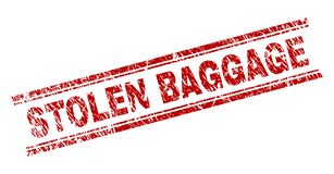 Scratched Textured STOLEN BAGGAGE Stamp Seal. STOLEN BAGGAGE seal print with distress effect. Red vector rubber print of STOLEN BAGGAGE caption with retro vector illustration