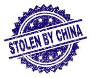 Scratched Textured STOLEN BY CHINA Stamp Seal. STOLEN BY CHINA stamp seal watermark with distress style. Blue vector rubber print of STOLEN BY CHINA text with stock illustration