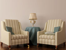 Stolen för två klassiker och bordlägger med lampan Arkivbilder