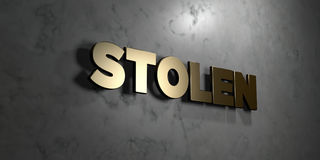 Stolen - Gold sign mounted on glossy marble wall  - 3D rendered royalty free stock illustration Royalty Free Stock Image