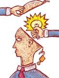 Stolen idea. Two hands grabbing an idea from an human head. An intellectual property concept Stock Photos