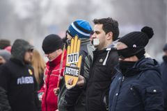 STOLEN JUSTICE - International Protest. Bucharest, Romania - January 21, 2018: STOLEN JUSTICE - International Protest in Poland, Germany, Czech Republic and Royalty Free Stock Image