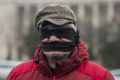 STOLEN JUSTICE - International Protest. Bucharest, Romania - January 21, 2018: STOLEN JUSTICE - International Protest in Poland, Germany, Czech Republic and Stock Photos