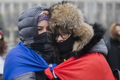 STOLEN JUSTICE - International Protest. Bucharest, Romania - January 21, 2018: STOLEN JUSTICE - International Protest in Poland, Germany, Czech Republic and Stock Photography