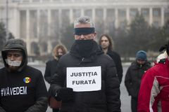 STOLEN JUSTICE - International Protest. Bucharest, Romania - January 21, 2018: STOLEN JUSTICE - International Protest in Poland, Germany, Czech Republic and Stock Photo