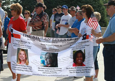 Stolen Lives Banner at Rally to Secure Our Borders. People carry a Stolen Lives banner at a Rally to Secure Our Borders in Lincoln, Nebraska at the State Capital Stock Photography