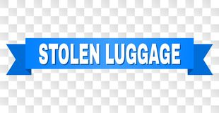 Blue Tape with STOLEN LUGGAGE Caption. STOLEN LUGGAGE text on a ribbon. Designed with white caption and blue tape. Vector banner with STOLEN LUGGAGE tag on a royalty free illustration