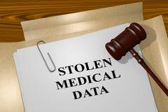 Stolen Medical Data - legal concept. 3D illustration of `STOLEN MEDICAL DATA` title on legal document stock illustration