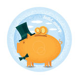 Stolen money.Three piggy bank with cylinder hat stand with coin. Stock Image