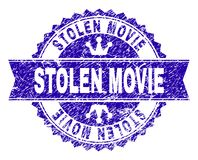 Grunge Textured STOLEN MOVIE Stamp Seal with Ribbon. STOLEN MOVIE rosette seal imitation with grunge texture. Designed with round rosette, ribbon and small stock illustration