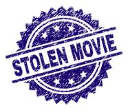 Scratched Textured STOLEN MOVIE Stamp Seal. STOLEN MOVIE stamp seal watermark with distress style. Blue vector rubber print of STOLEN MOVIE caption with unclean stock illustration