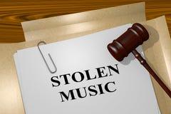 Stolen Music - legal concept. 3D illustration of STOLEN MUSIC title on legal document Stock Photos