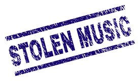 Grunge Textured STOLEN MUSIC Stamp Seal. STOLEN MUSIC seal print with grunge style. Blue vector rubber print of STOLEN MUSIC title with corroded texture. Text stock illustration