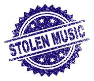 Grunge Textured STOLEN MUSIC Stamp Seal. STOLEN MUSIC stamp seal watermark with distress style. Blue vector rubber print of STOLEN MUSIC tag with grunge texture stock illustration