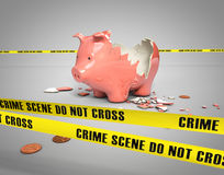 Stolen piggy bank. Stolen savings from a broken piggy bank Stock Photos