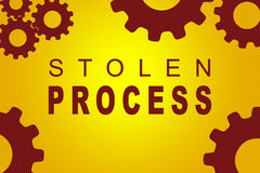 Stolen Process concept. STOLEN PROCESS sign concept illustration with red gear wheel figures on yellow background Stock Images