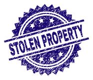 Scratched Textured STOLEN PROPERTY Stamp Seal. STOLEN PROPERTY stamp seal watermark with distress style. Blue vector rubber print of STOLEN PROPERTY label with stock illustration