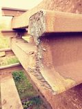 Stolen rail. Detail of autogen torch  cut rail rod on concrete sleeper. Repair of tramway. Stock Images
