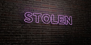 STOLEN -Realistic Neon Sign on Brick Wall background - 3D rendered royalty free stock image Royalty Free Stock Photography
