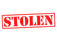 STOLEN. Red Rubber Stamp over a white background stock illustration