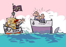 Stolen shipment. Shipping risks cartoon. Stolen shipment by pirates stock illustration