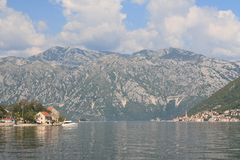 Stoliv and Perast on the coast of the Bay of Kotor in Montenegro Royalty Free Stock Photos