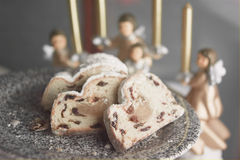 Stollen cake and angels Royalty Free Stock Photo