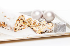 Stollen cake on a metal tray Stock Photography