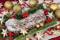Stollen Christmas Cake stock images