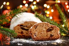 Stollen christmas cake slice Stock Images
