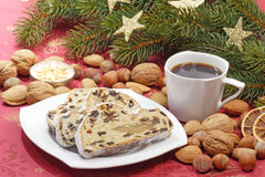 Stollen with Coffee Stock Image