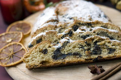 Stollen on a festive table Royalty Free Stock Photo