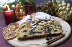 Stollen on a festive table Stock Images