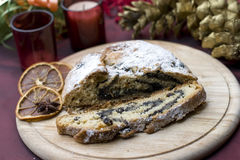 Stollen on a festive table Royalty Free Stock Images
