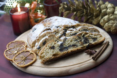 Stollen on a festive table Stock Photography