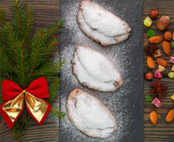 Stollen. Mini Stollen. Traditional Christmas cake with nuts, raisins and candied fruit Stock Images