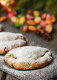 Stollen. Mini Stollen. Traditional Christmas cake with nuts, raisins and candied fruit Stock Photo