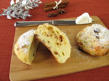 Stollen scones with clotted cream Royalty Free Stock Images
