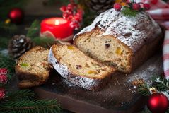 Stollen - traditional Christmas cake Stock Photo