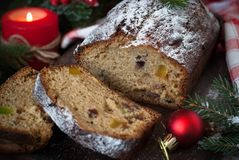 Stollen - traditional Christmas cake Stock Image