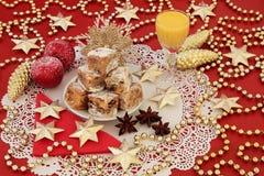 Stollen-Weihnachtskuchen-Bisse Lizenzfreies Stockbild