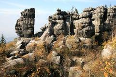 Stolowe Mountains - Poland. Phenomenon of nature – Stolowe ( Table ) Mountains – rock formations in National Park – Poland near Pasterka village Stock Photos