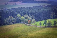 Stolowe Mountains in Poland. Aerial view from Mount Naroznik in Table Mountains, Sudetes in Poland Royalty Free Stock Images