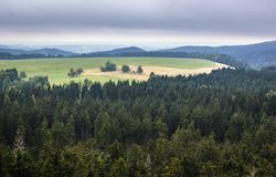 Stolowe Mountains in Poland. Aerial view from Mount Naroznik in Table Mountains, Sudetes in Poland Royalty Free Stock Photo