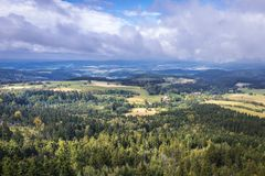 Stolowe Mountains in Poland. Aerial view from Szczeliniec Wielki massif in Table Mountains National Park in Sudetes, Poland Stock Photos