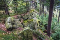 Stolowe Mountains in Poland. Bird Mount near Karlow village in Table Mountains, Sudetes in Poland Stock Image